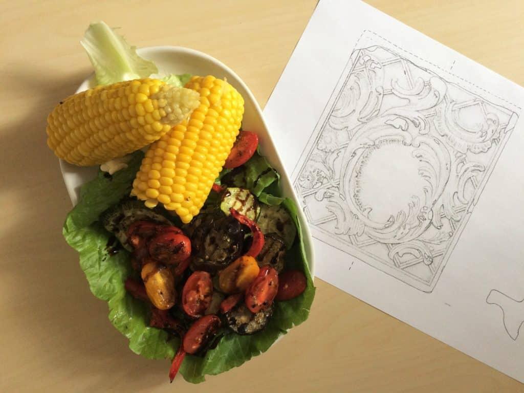 Kukurydza z pieczonymi warzywami