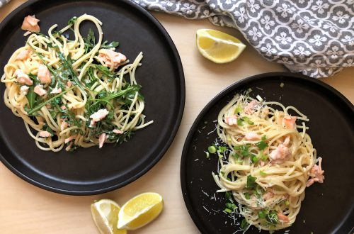 Spaghetti z wędzonym łososiem
